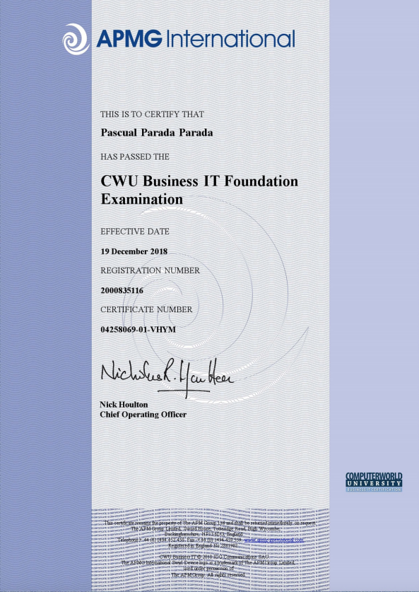 Certificado CWU Business IT